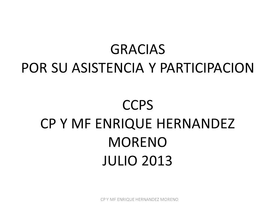 GRACIAS POR SU ASISTENCIA Y PARTICIPACION CCPS CP Y MF ENRIQUE HERNANDEZ MORENO JULIO 2013 CP Y MF ENRIQUE HERNANDEZ MORENO