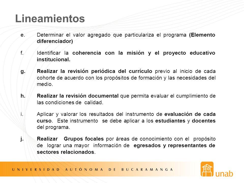 Lineamientos e.Determinar el valor agregado que particulariza el programa (Elemento diferenciador) f.Identificar la coherencia con la misión y el proy
