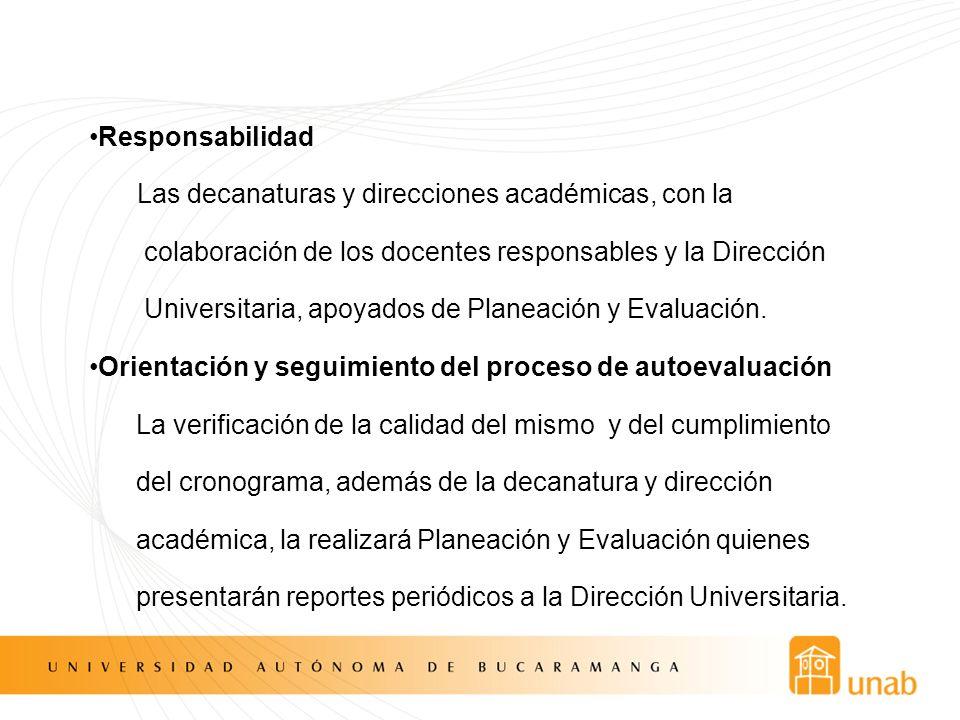 Responsabilidad Las decanaturas y direcciones académicas, con la colaboración de los docentes responsables y la Dirección Universitaria, apoyados de Planeación y Evaluación.
