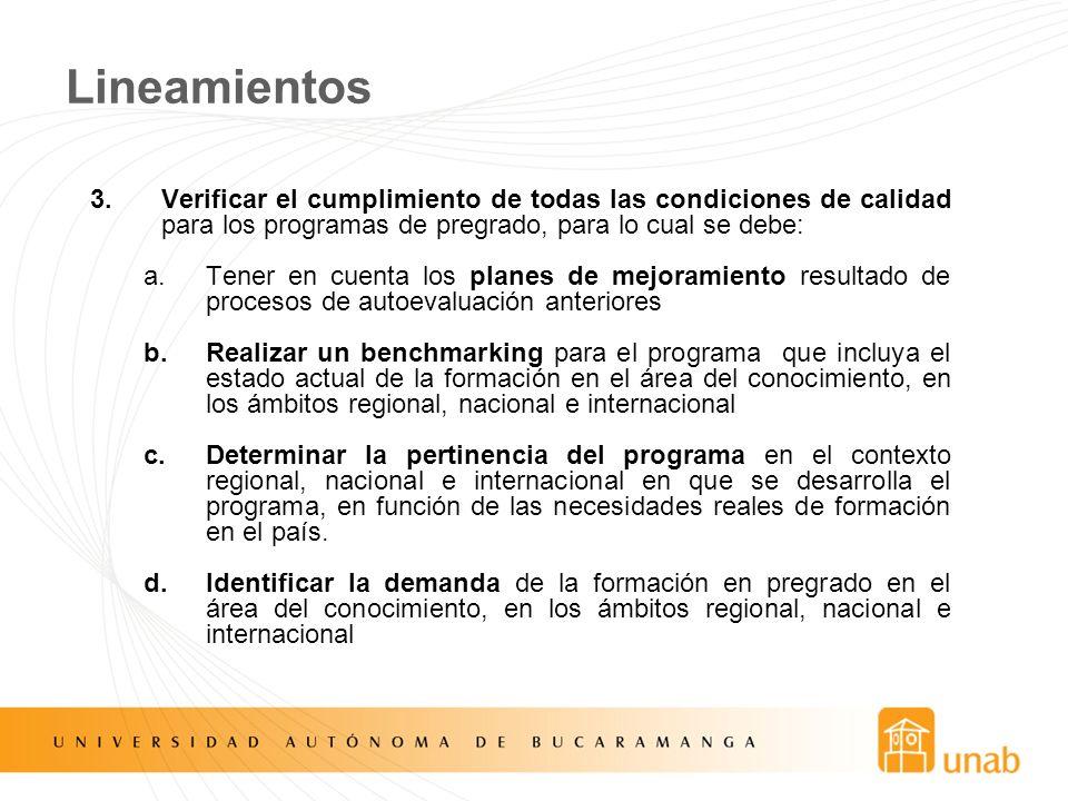 Lineamientos 3.Verificar el cumplimiento de todas las condiciones de calidad para los programas de pregrado, para lo cual se debe: a.Tener en cuenta l