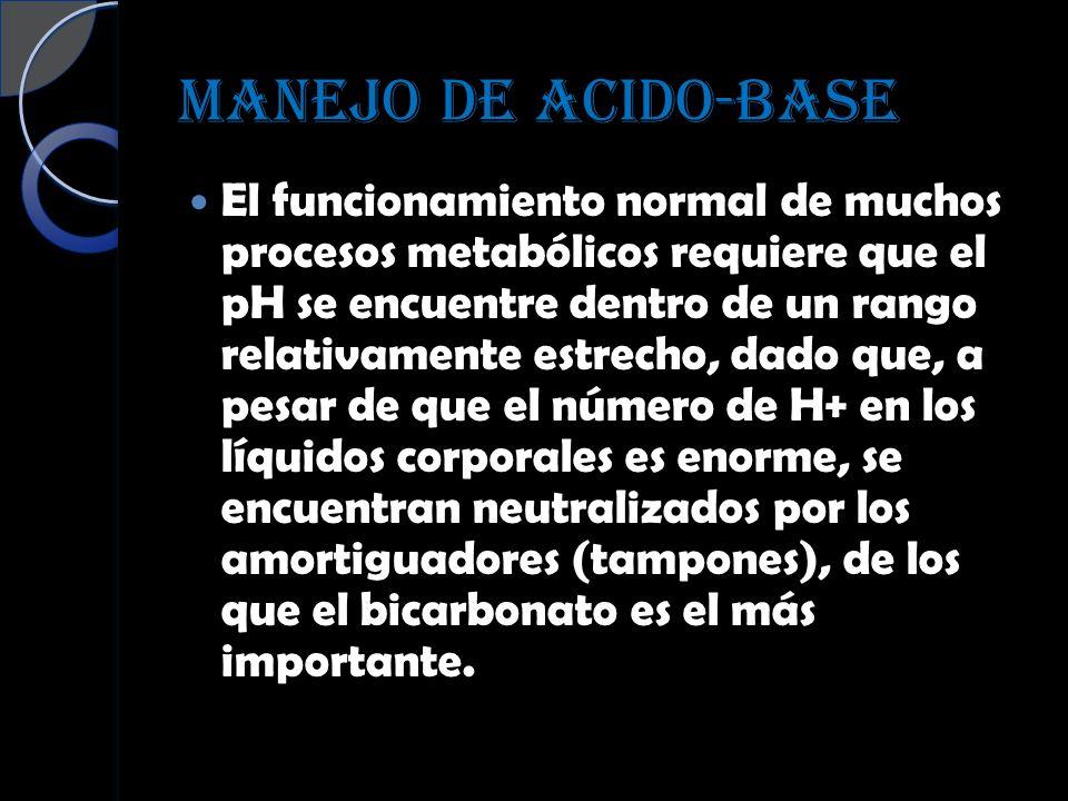 MANEJO DE ACIDO-BASE El funcionamiento normal de muchos procesos metabólicos requiere que el pH se encuentre dentro de un rango relativamente estrecho