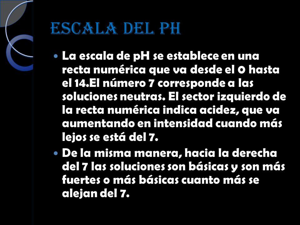 ESCALA DEL PH La escala de pH se establece en una recta numérica que va desde el 0 hasta el 14.El número 7 corresponde a las soluciones neutras. El se