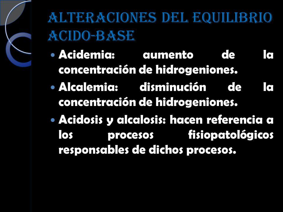 ALTERACIONES DEL EQUILIBRIO ACIDO-BASE Acidemia: aumento de la concentración de hidrogeniones. Alcalemia: disminución de la concentración de hidrogeni