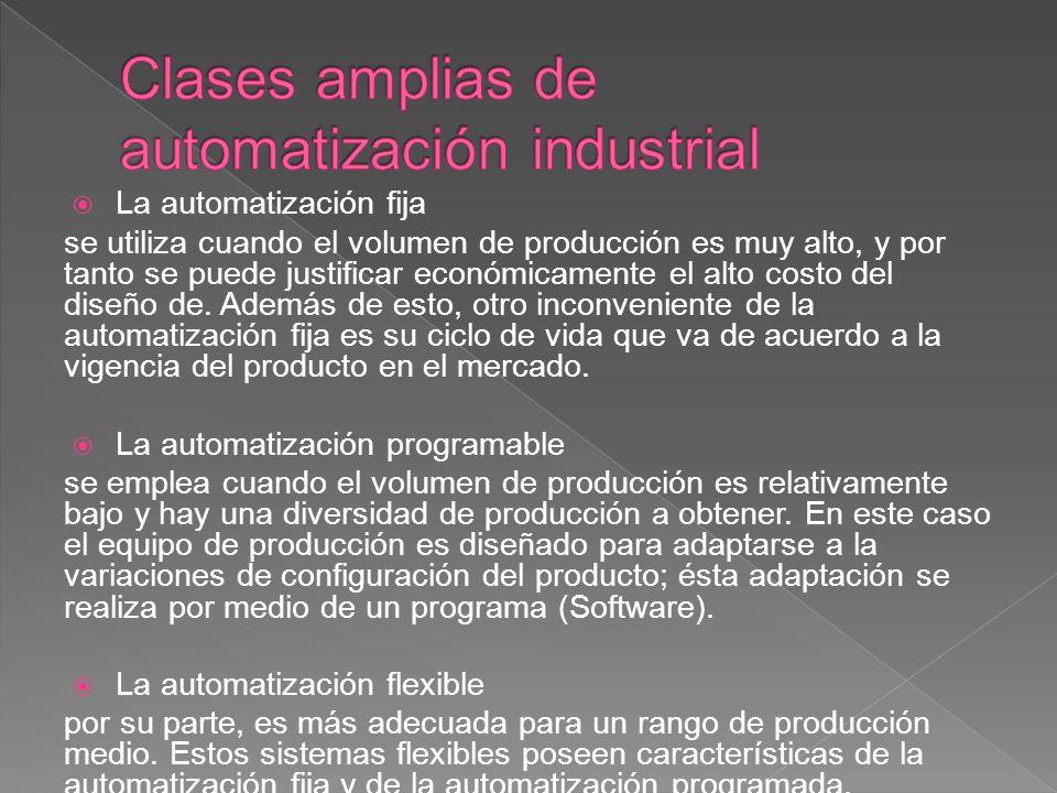 La automatización fija se utiliza cuando el volumen de producción es muy alto, y por tanto se puede justificar económicamente el alto costo del diseño de.