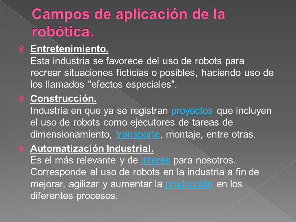 Entretenimiento. Esta industria se favorece del uso de robots para recrear situaciones ficticias o posibles, haciendo uso de los llamados