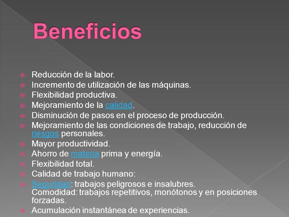 Reducción de la labor. Incremento de utilización de las máquinas. Flexibilidad productiva. Mejoramiento de la calidad.calidad Disminución de pasos en