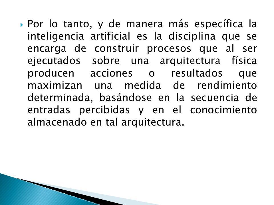 Por lo tanto, y de manera más específica la inteligencia artificial es la disciplina que se encarga de construir procesos que al ser ejecutados sobre