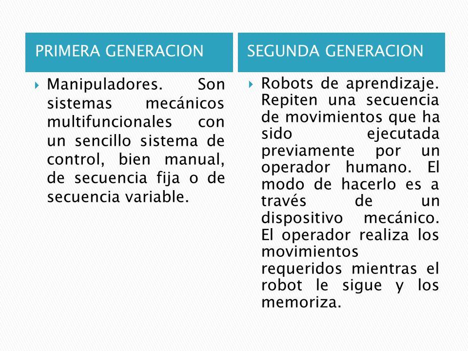 PRIMERA GENERACIONSEGUNDA GENERACION Manipuladores. Son sistemas mecánicos multifuncionales con un sencillo sistema de control, bien manual, de secuen