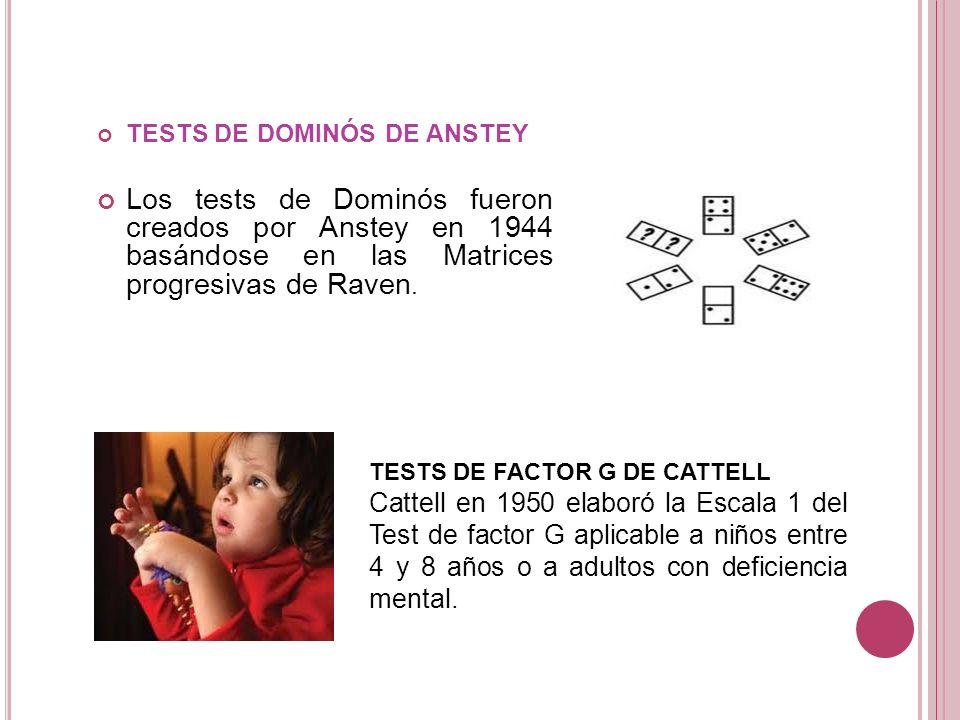 TESTS DE DOMINÓS DE ANSTEY Los tests de Dominós fueron creados por Anstey en 1944 basándose en las Matrices progresivas de Raven. TESTS DE FACTOR G DE