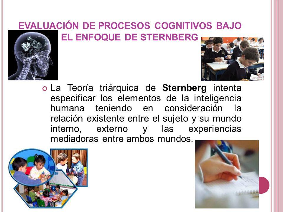 EVALUACIÓN DE PROCESOS COGNITIVOS BAJO EL ENFOQUE DE STERNBERG La Teoría triárquica de Sternberg intenta especificar los elementos de la inteligencia