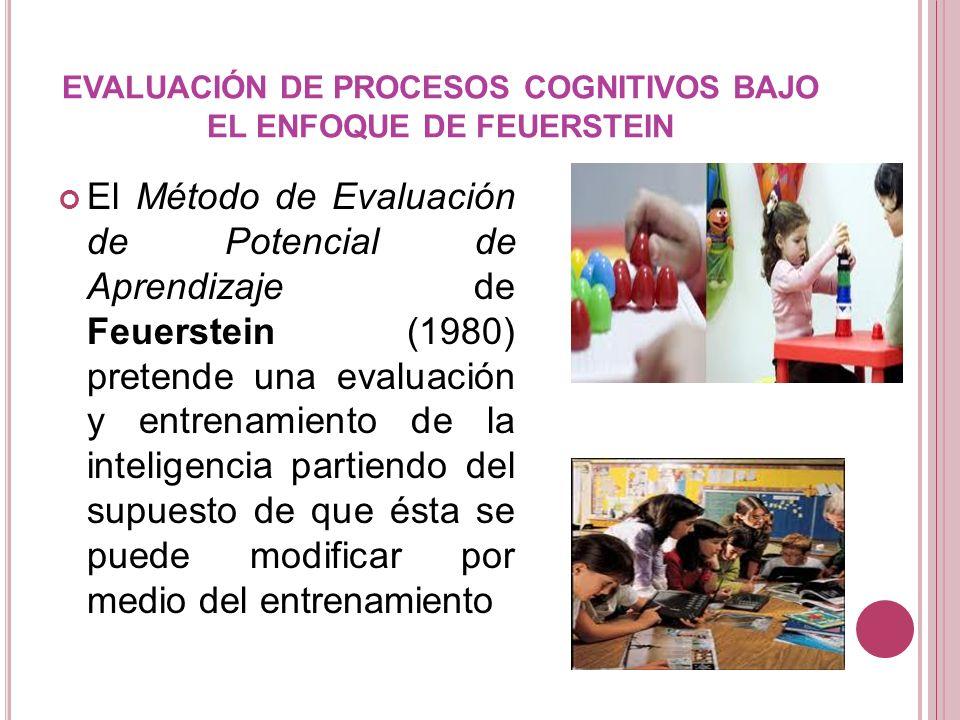 EVALUACIÓN DE PROCESOS COGNITIVOS BAJO EL ENFOQUE DE FEUERSTEIN El Método de Evaluación de Potencial de Aprendizaje de Feuerstein (1980) pretende una