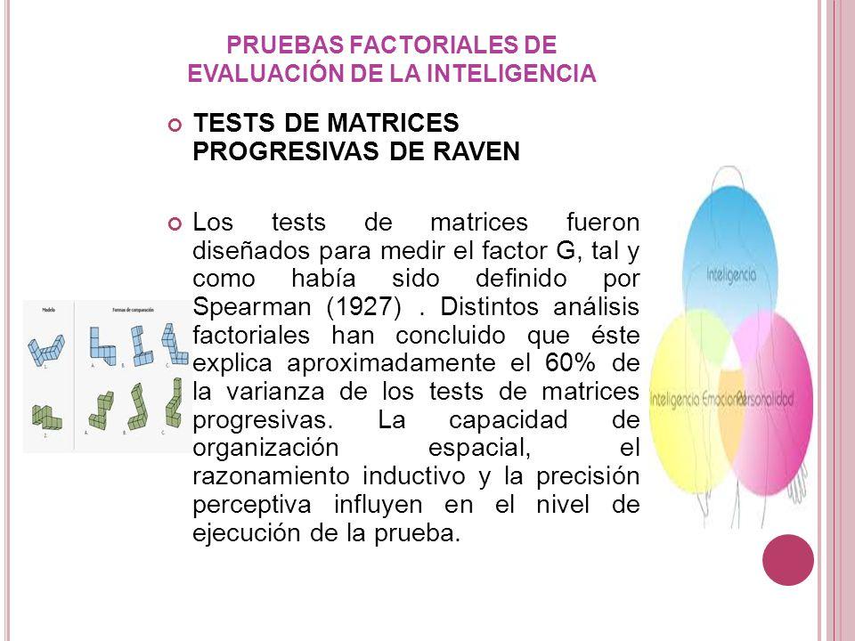 PRUEBAS FACTORIALES DE EVALUACIÓN DE LA INTELIGENCIA TESTS DE MATRICES PROGRESIVAS DE RAVEN Los tests de matrices fueron diseñados para medir el facto