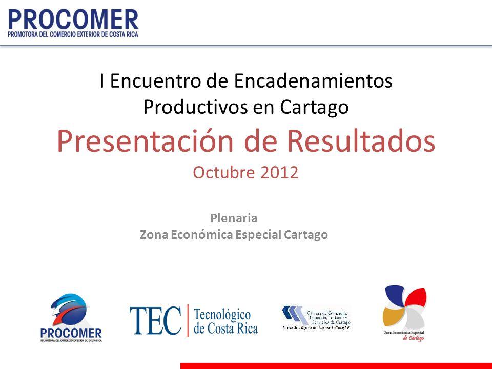 I Encuentro de Encadenamientos Productivos en Cartago Presentación de Resultados Octubre 2012 Plenaria Zona Económica Especial Cartago