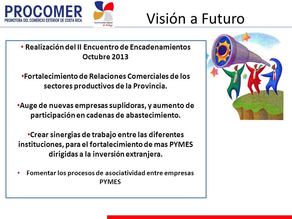 Visión a Futuro Realización del II Encuentro de Encadenamientos Octubre 2013 Fortalecimiento de Relaciones Comerciales de los sectores productivos de la Provincia.