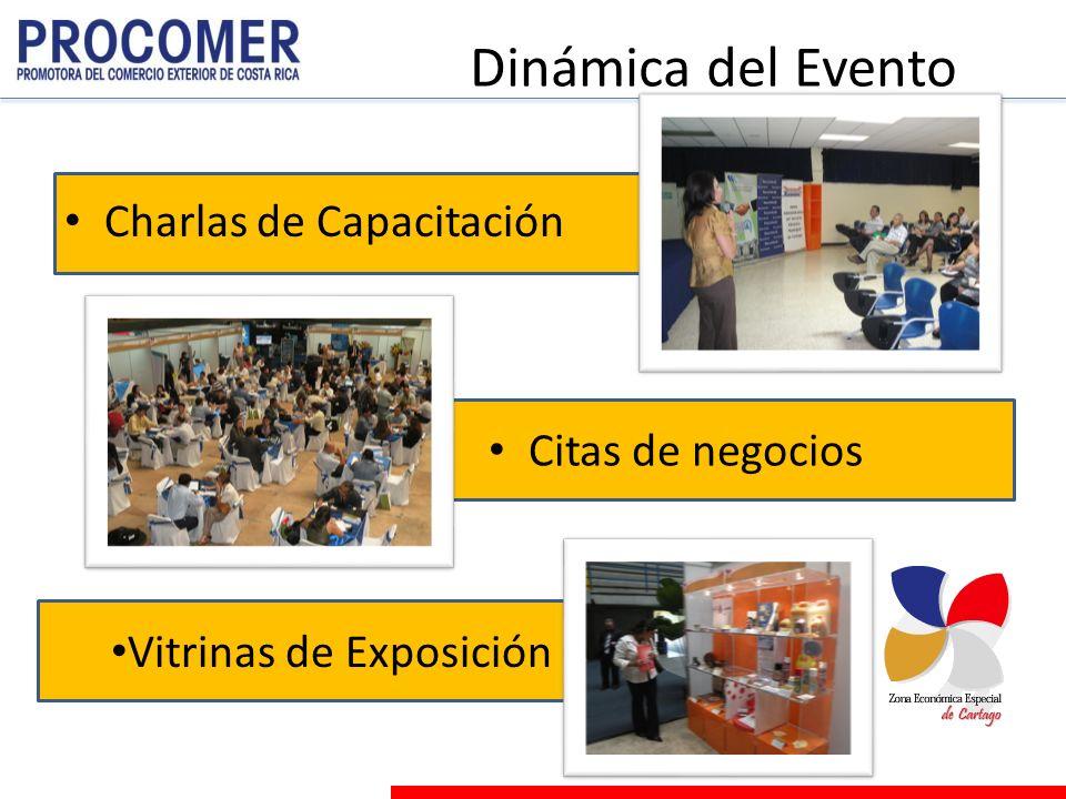 Dinámica del Evento Citas de negocios Charlas de Capacitación Vitrinas de Exposición
