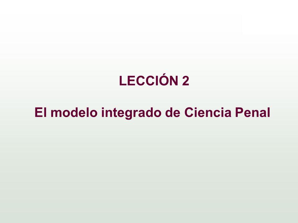 LECCIÓN 2 El modelo integrado de Ciencia Penal