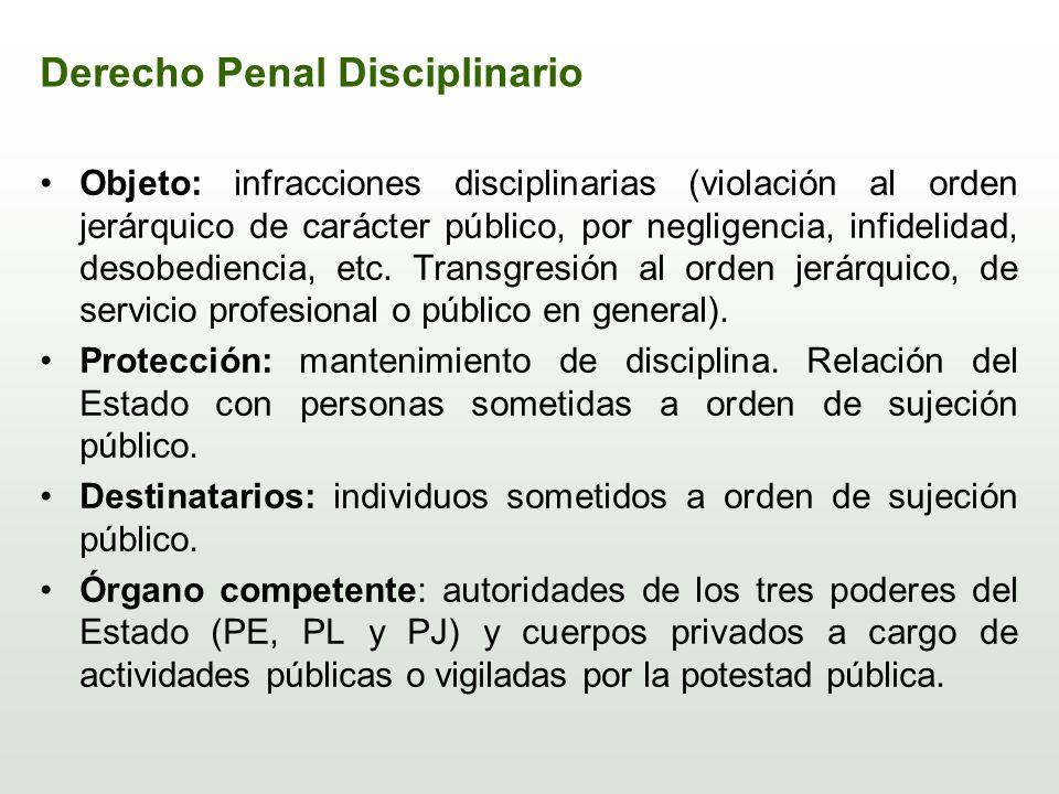 Derecho Penal Disciplinario Objeto: infracciones disciplinarias (violación al orden jerárquico de carácter público, por negligencia, infidelidad, deso