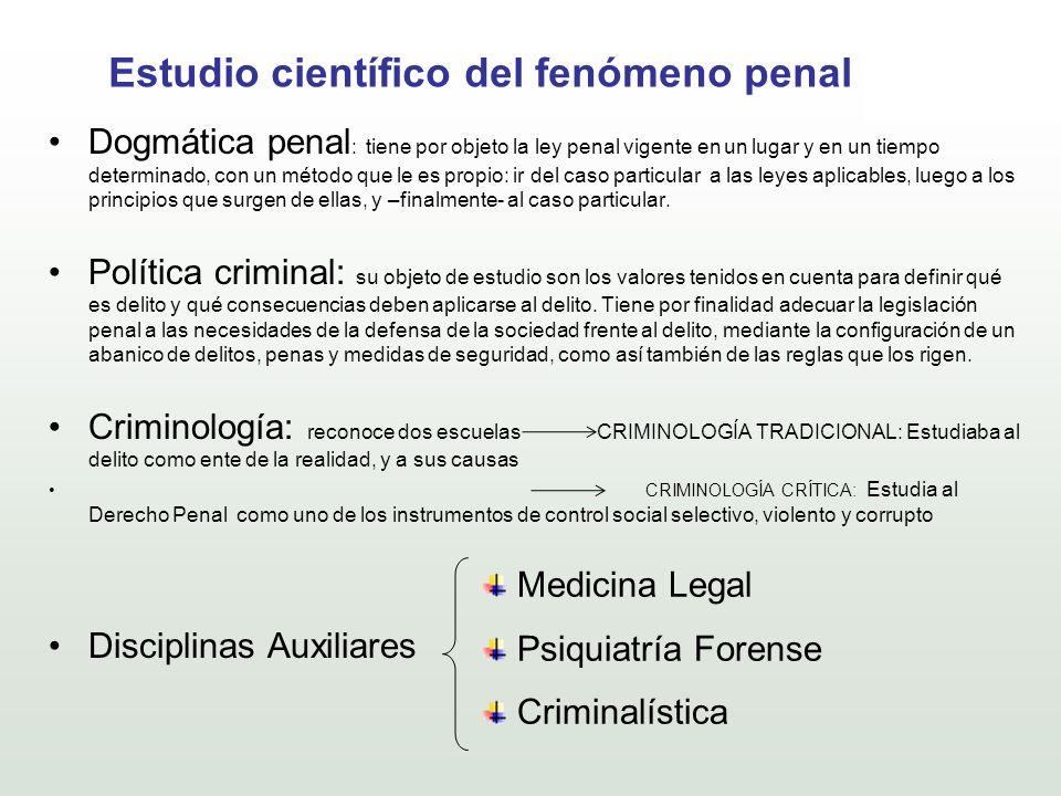 Estudio científico del fenómeno penal Dogmática penal : tiene por objeto la ley penal vigente en un lugar y en un tiempo determinado, con un método qu