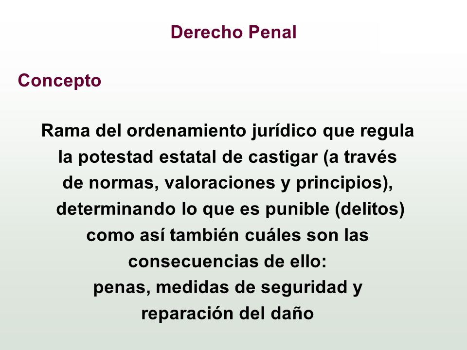 Derecho Penal Concepto Rama del ordenamiento jurídico que regula la potestad estatal de castigar (a través de normas, valoraciones y principios), dete