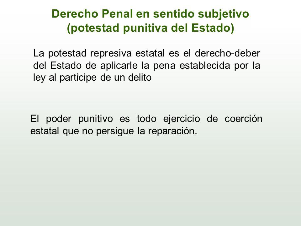 Derecho Penal en sentido subjetivo (potestad punitiva del Estado) La potestad represiva estatal es el derecho-deber del Estado de aplicarle la pena es
