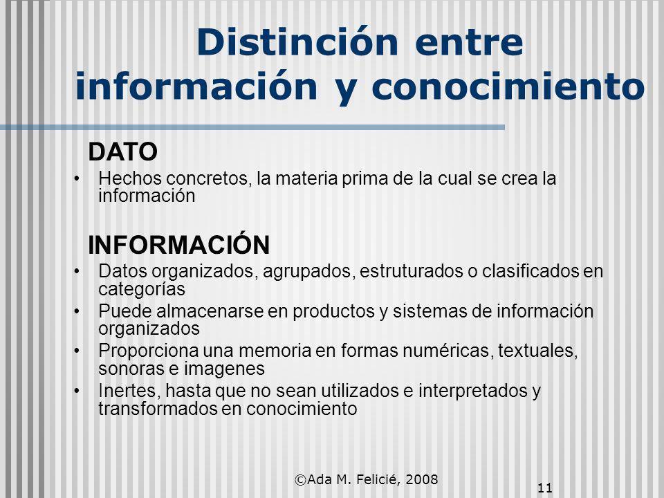 Distinción entre información y conocimiento 11 DATO Hechos concretos, la materia prima de la cual se crea la información INFORMACIÓN Datos organizados