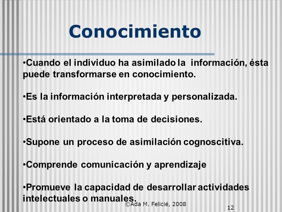 ©Ada M. Felicié, 2008 12 Conocimiento Cuando el individuo ha asimilado la información, ésta puede transformarse en conocimiento. Es la información int