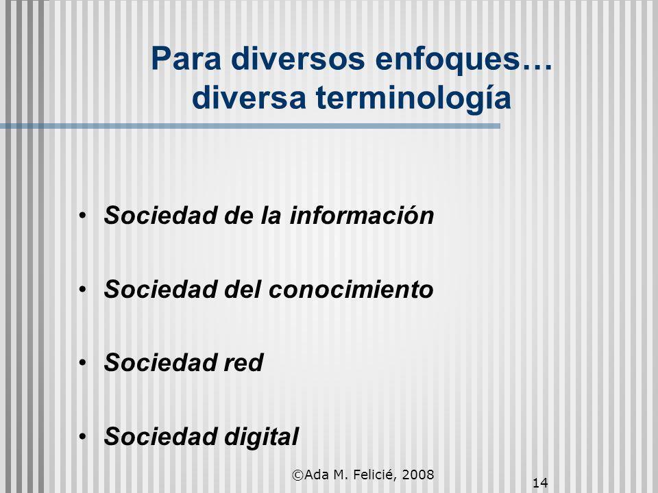 14 Para diversos enfoques… diversa terminología Sociedad de la información Sociedad del conocimiento Sociedad red Sociedad digital