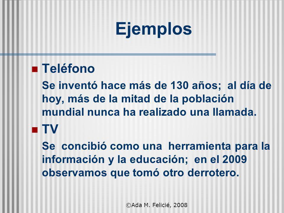 Ejemplos Teléfono Se inventó hace más de 130 años; al día de hoy, más de la mitad de la población mundial nunca ha realizado una llamada. TV Se concib