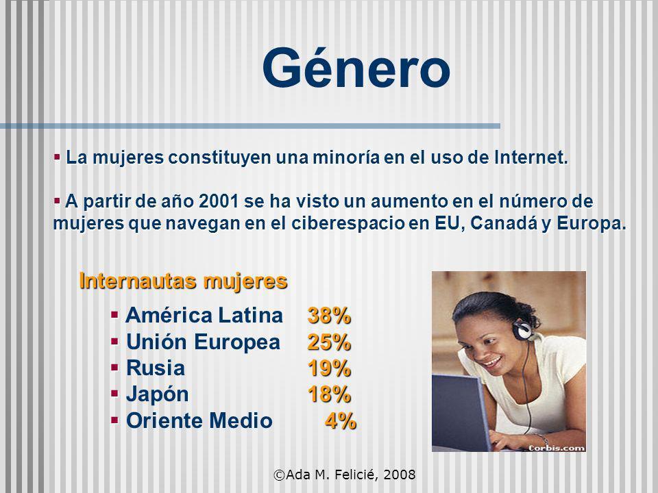 La mujeres constituyen una minoría en el uso de Internet. La mujeres constituyen una minoría en el uso de Internet. A partir de año 2001 se ha visto u