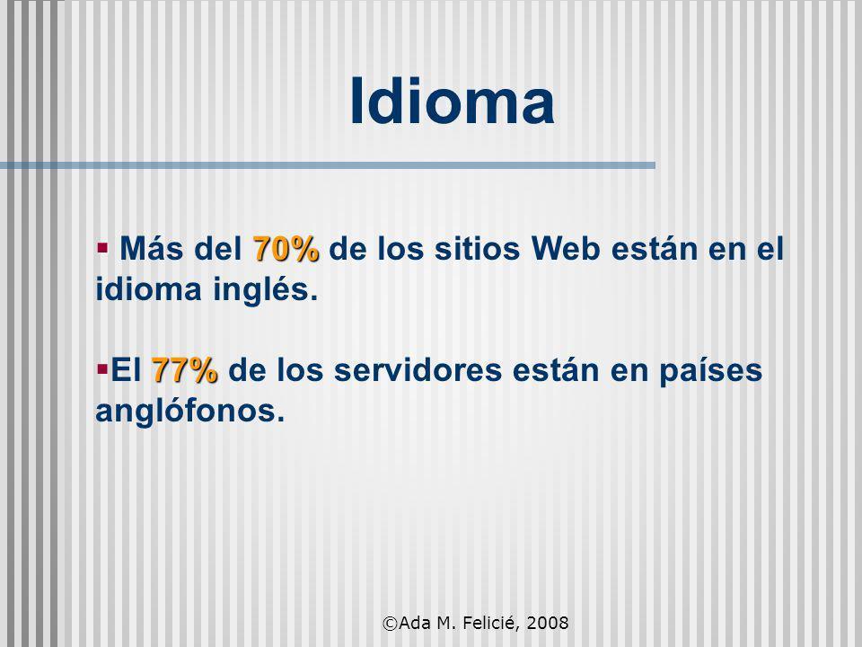 70% Más del 70% de los sitios Web están en el idioma inglés. 77% El 77% de los servidores están en países anglófonos. Idioma ©Ada M. Felicié, 2008