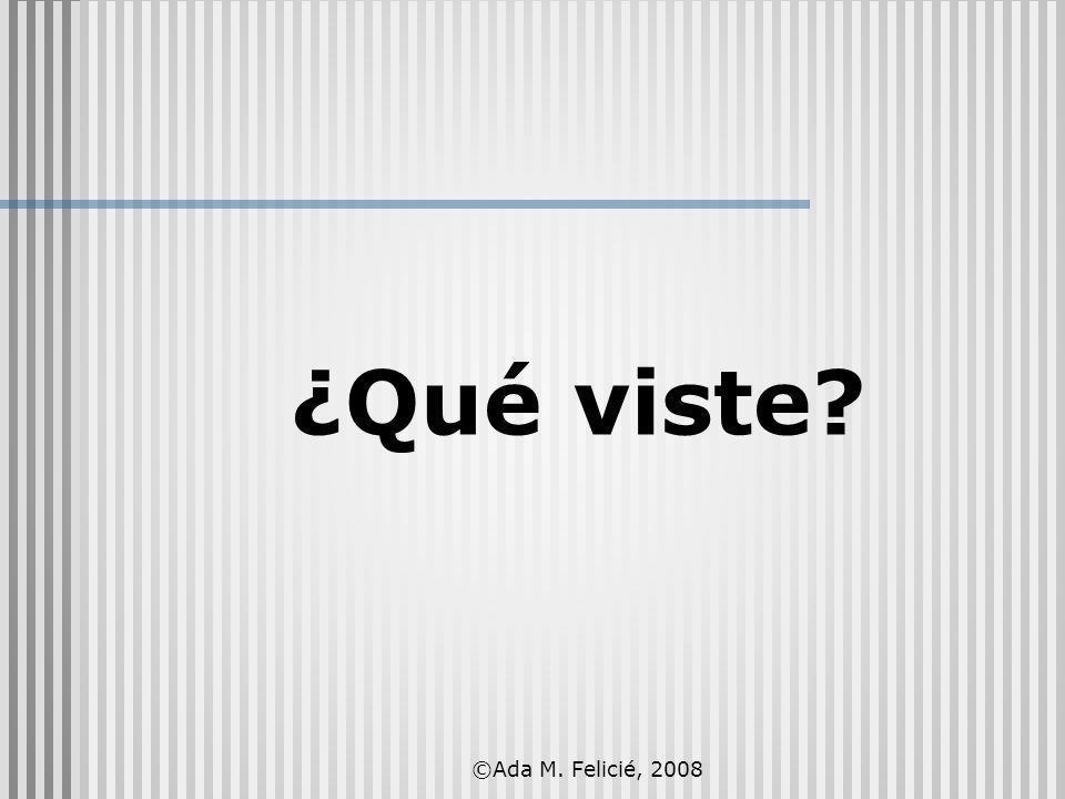 ¿Qué viste? ©Ada M. Felicié, 2008