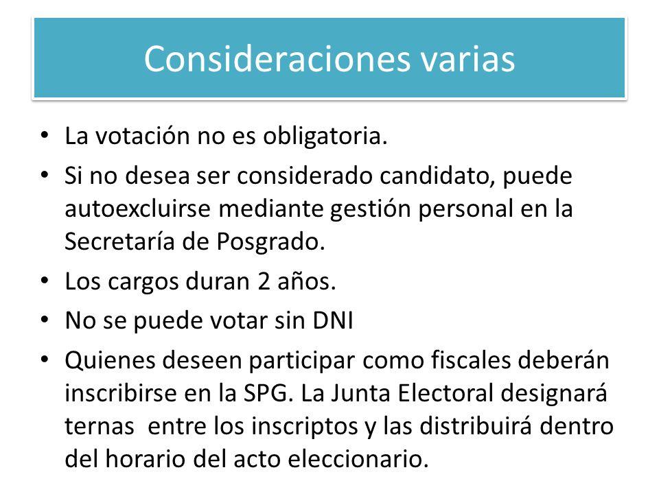 Límite para la autoexclusión: 25/10 Elecciones: 27/11 de 10 a 17 hs Anuncio de los resultados: 27/11 luego del recuento de votos Los elegidos asumirán sus funciones dentro de los 30 días luego de que CD tome conocimiento de su elección.