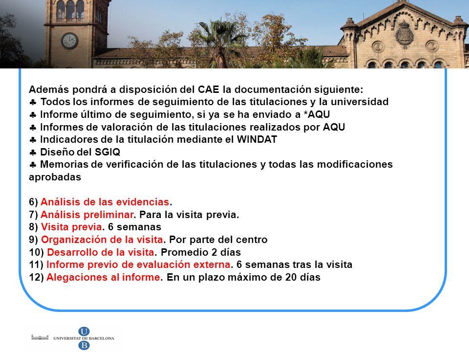 Además pondrá a disposición del CAE la documentación siguiente: Todos los informes de seguimiento de las titulaciones y la universidad Informe último