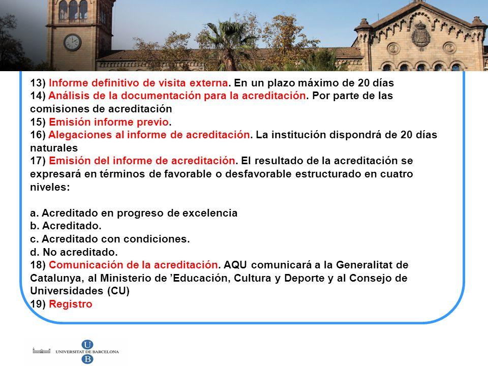 13) Informe definitivo de visita externa. En un plazo máximo de 20 días 14) Análisis de la documentación para la acreditación. Por parte de las comisi
