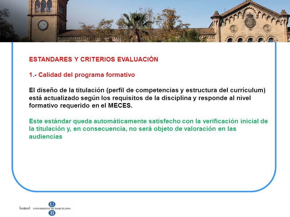 ESTANDARES Y CRITERIOS EVALUACIÓN 1.- Calidad del programa formativo El diseño de la titulación (perfil de competencias y estructura del currículum) e