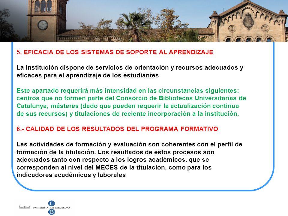 5. EFICACIA DE LOS SISTEMAS DE SOPORTE AL APRENDIZAJE La institución dispone de servicios de orientación y recursos adecuados y eficaces para el apren