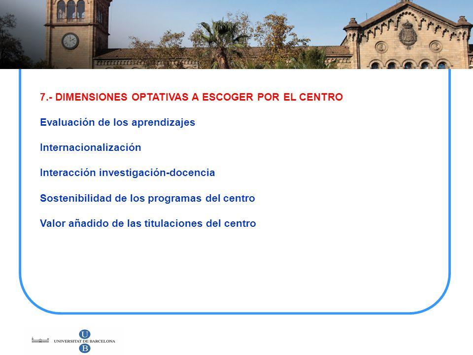7.- DIMENSIONES OPTATIVAS A ESCOGER POR EL CENTRO Evaluación de los aprendizajes Internacionalización Interacción investigación-docencia Sostenibilida