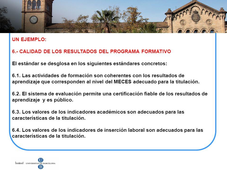 UN EJEMPLO: 6.- CALIDAD DE LOS RESULTADOS DEL PROGRAMA FORMATIVO El estándar se desglosa en los siguientes estándares concretos: 6.1. Las actividades