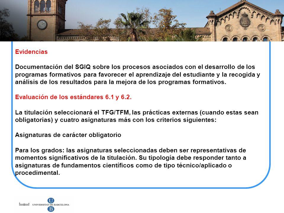 Evidencias Documentación del SGIQ sobre los procesos asociados con el desarrollo de los programas formativos para favorecer el aprendizaje del estudia