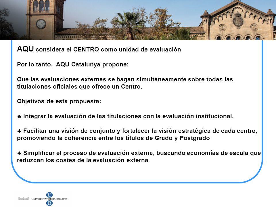 AQU considera el CENTRO como unidad de evaluación Por lo tanto, AQU Catalunya propone: Que las evaluaciones externas se hagan simultáneamente sobre to