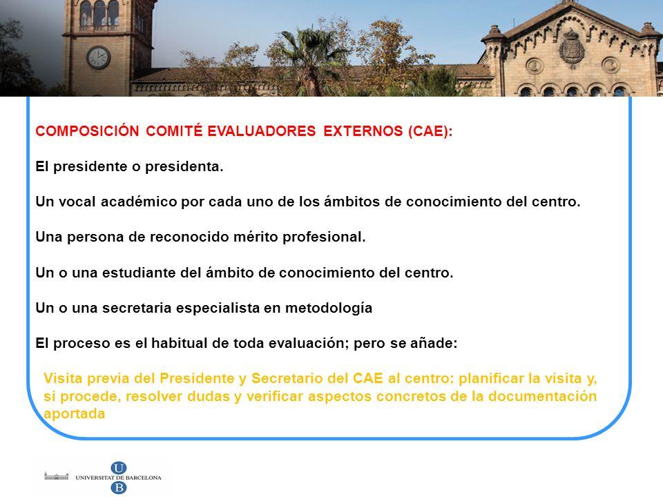 COMPOSICIÓN COMITÉ EVALUADORES EXTERNOS (CAE): El presidente o presidenta. Un vocal académico por cada uno de los ámbitos de conocimiento del centro.