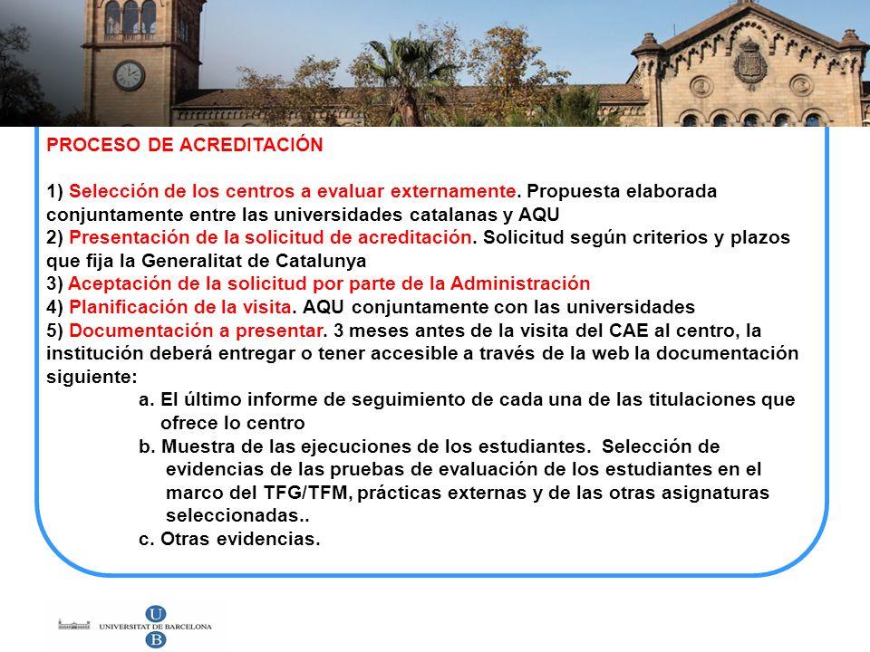 PROCESO DE ACREDITACIÓN 1) Selección de los centros a evaluar externamente. Propuesta elaborada conjuntamente entre las universidades catalanas y AQU