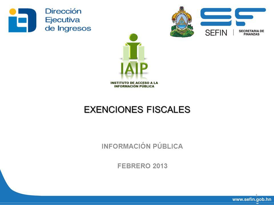 EXENCIONES FISCALES INFORMACIÓN PÚBLICA FEBRERO 2013 1