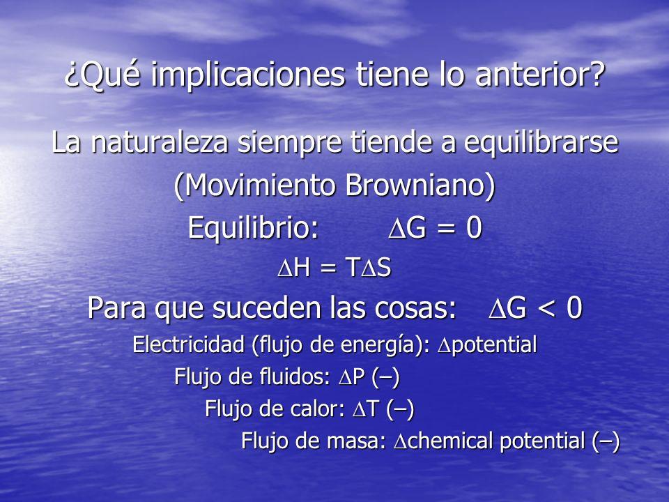 Ejemplo: Cambio de fases Fuerzas de cohesión vs Movimiento Browniano Entalpía vs Entropía A la temperatura de fusión, H f = T S f Proceso de fusión H f < T S f A la temperatura de ebullición, H v = T S v Evaporación H v < T S v En ambos casos, se rompen enlaces En ambos casos, se rompen enlaces La temperatura del cambio de fase es una indicación de la fuerza de los enlaces