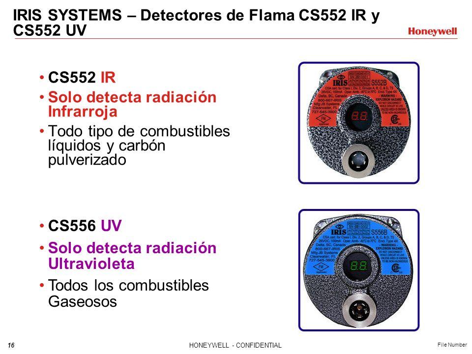 16HONEYWELL - CONFIDENTIAL File Number CS552 IR Solo detecta radiación Infrarroja Todo tipo de combustibles líquidos y carbón pulverizado CS556 UV Sol
