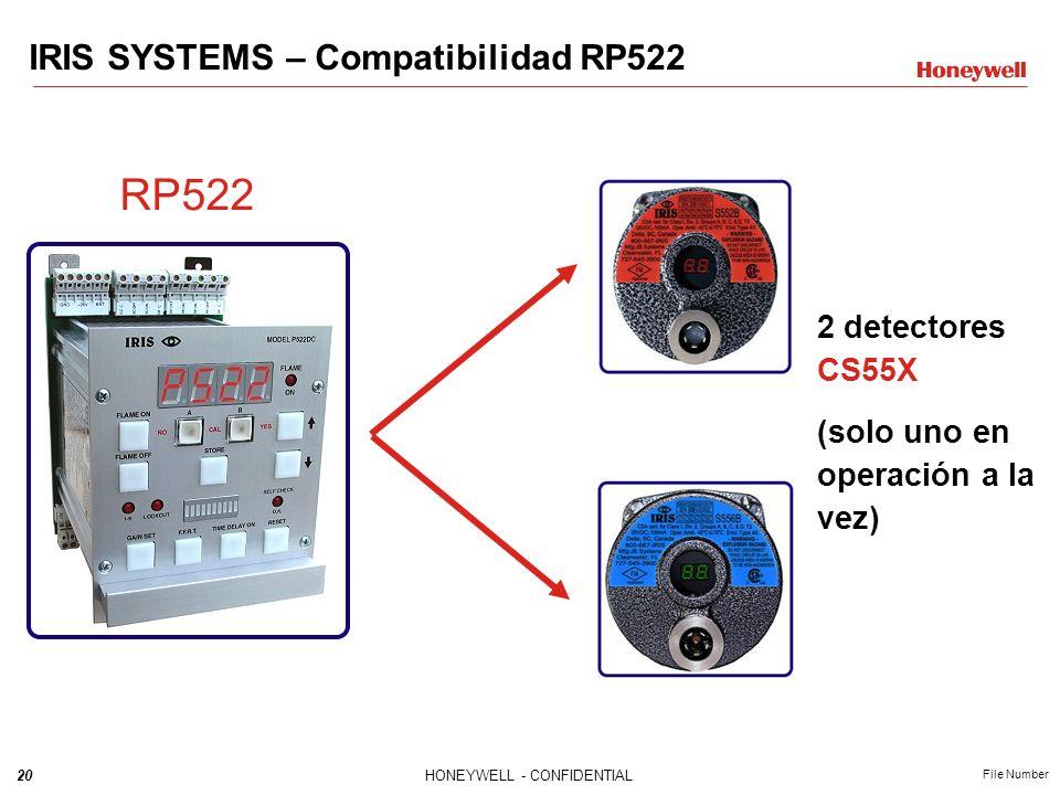 20HONEYWELL - CONFIDENTIAL File Number IRIS SYSTEMS – Compatibilidad RP522 RP522 2 detectores CS55X (solo uno en operación a la vez)