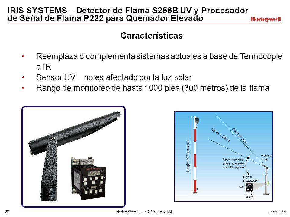 23HONEYWELL - CONFIDENTIAL File Number IRIS SYSTEMS – Detector de Flama S256B UV y Procesador de Señal de Flama P222 para Quemador Elevado Característ