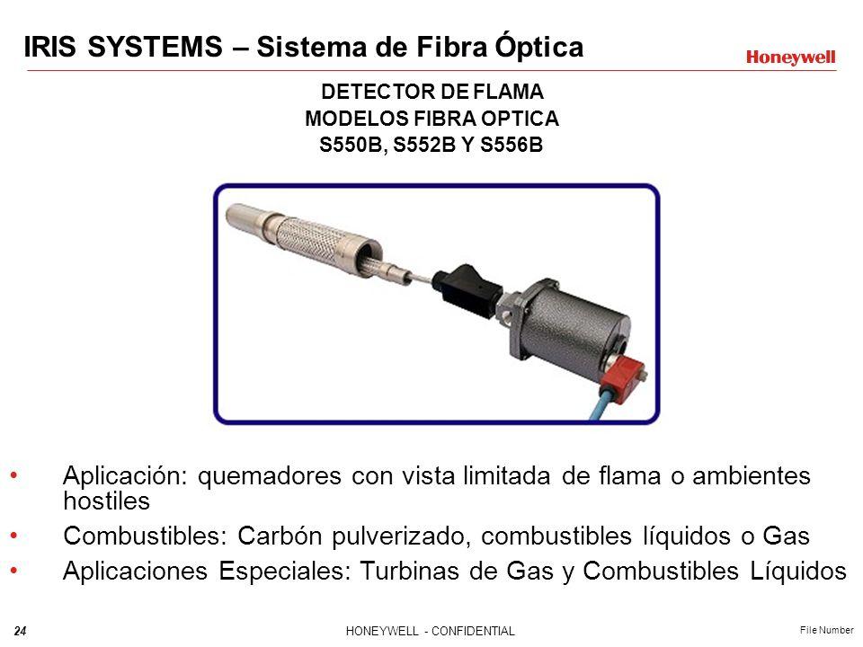 24HONEYWELL - CONFIDENTIAL File Number DETECTOR DE FLAMA MODELOS FIBRA OPTICA S550B, S552B Y S556B Aplicación: quemadores con vista limitada de flama
