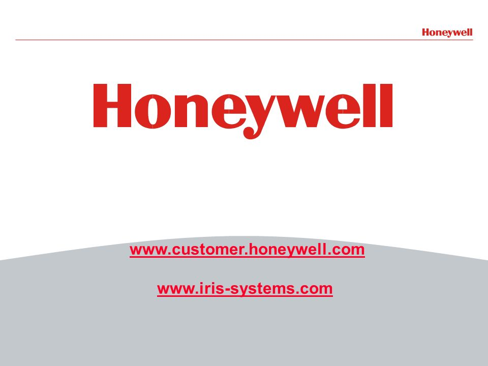 27HONEYWELL - CONFIDENTIAL File Number www.customer.honeywell.com www.iris-systems.com