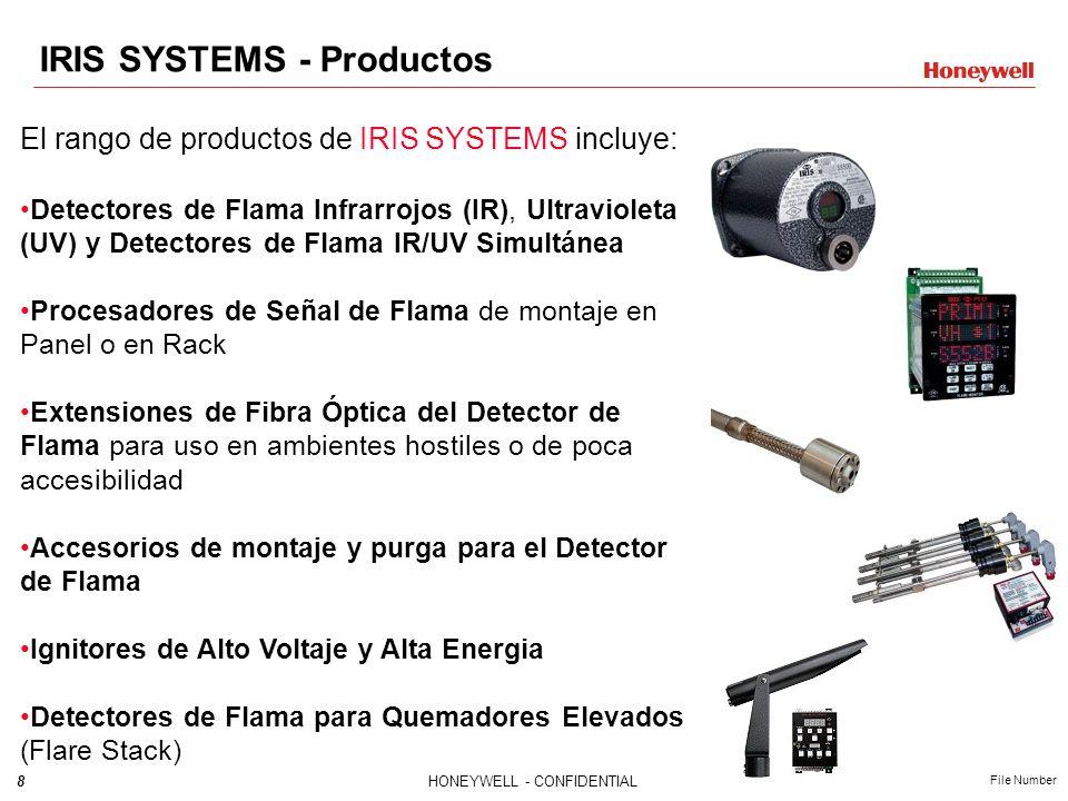 8HONEYWELL - CONFIDENTIAL File Number El rango de productos de IRIS SYSTEMS incluye: Detectores de Flama Infrarrojos (IR), Ultravioleta (UV) y Detectores de Flama IR/UV Simultánea Procesadores de Señal de Flama de montaje en Panel o en Rack Extensiones de Fibra Óptica del Detector de Flama para uso en ambientes hostiles o de poca accesibilidad Accesorios de montaje y purga para el Detector de Flama Ignitores de Alto Voltaje y Alta Energia Detectores de Flama para Quemadores Elevados (Flare Stack) IRIS SYSTEMS - Productos